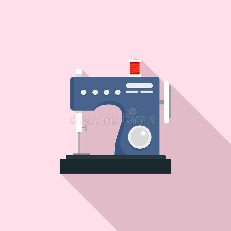 Small sew machine icon, flat style vector illustration