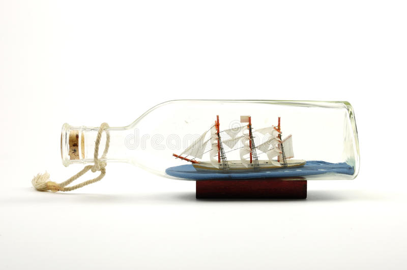 Small ship. In the bottle stock photography