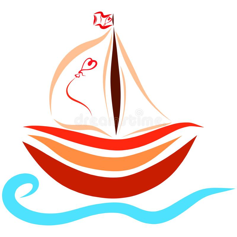 A small ship floating on the waves, romance.  royalty free illustration
