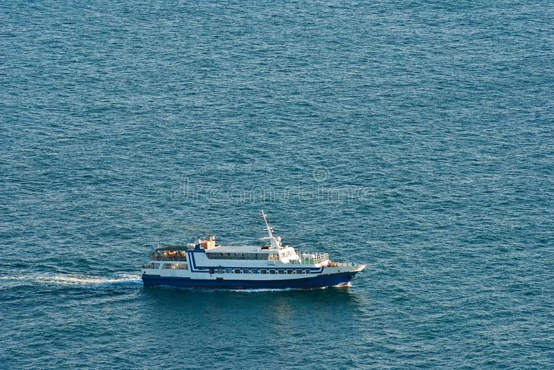 Small ship in a sea. By an evening royalty free stock photos