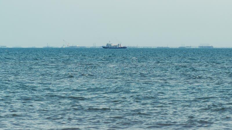 Small ship on sea. Small ship on the high seas stock image