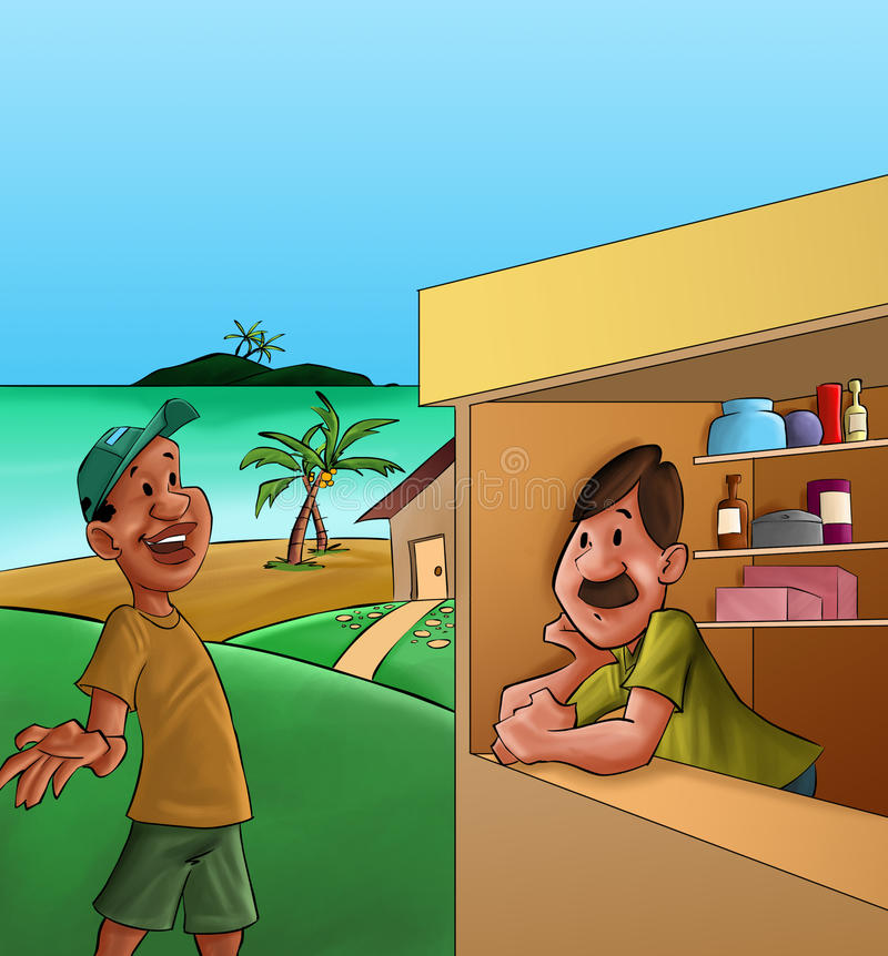 Small shop. Vendor and costumer in a conversation in the small store royalty free illustration