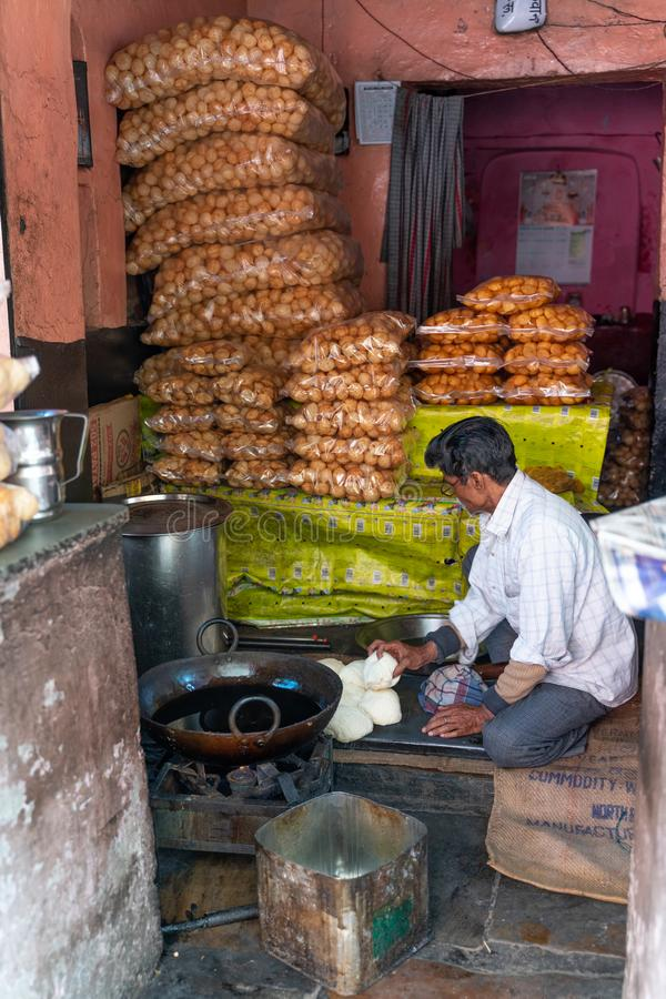 The small shop in India stock photos