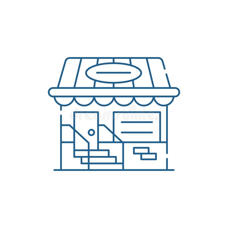 Small shop line icon concept. Small shop flat  vector symbol, sign, outline illustration. stock illustration