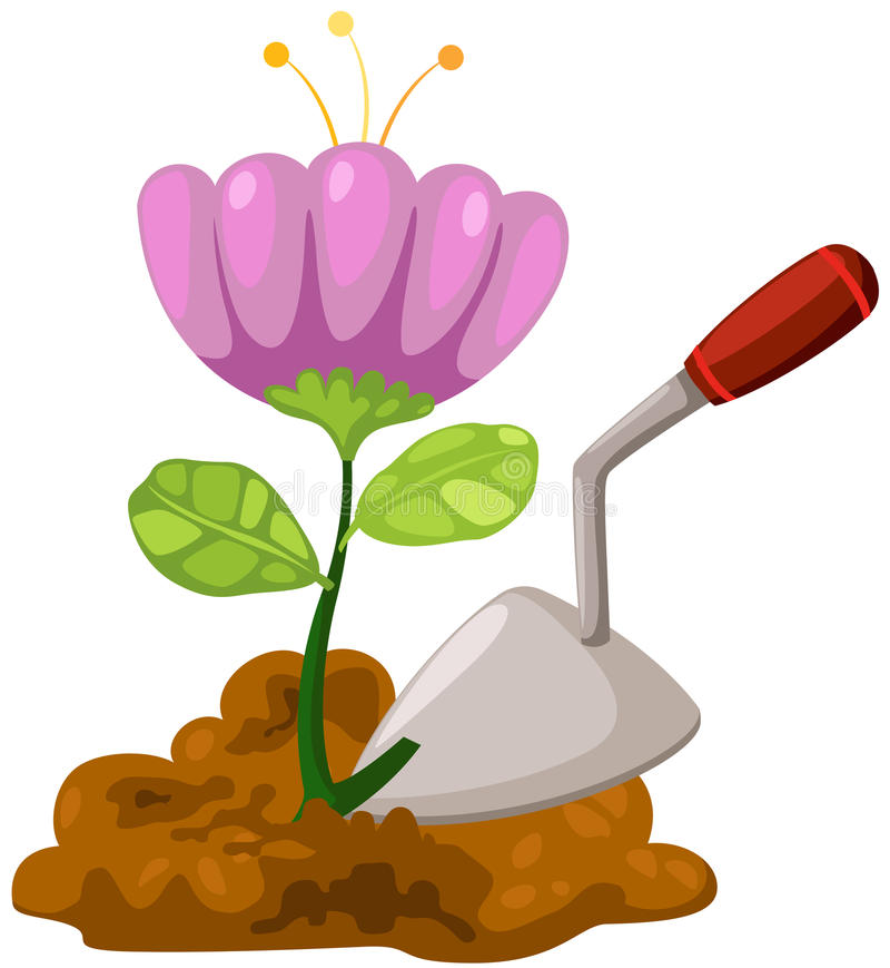 Small shovel with flower vector illustration