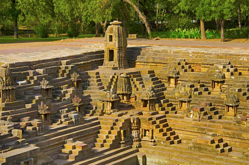 Small shrines and steps to reach the bottom of the reservoir, of the Sun Temple. Modhera village of Mehsana district, Gujarat. India royalty free stock photo
