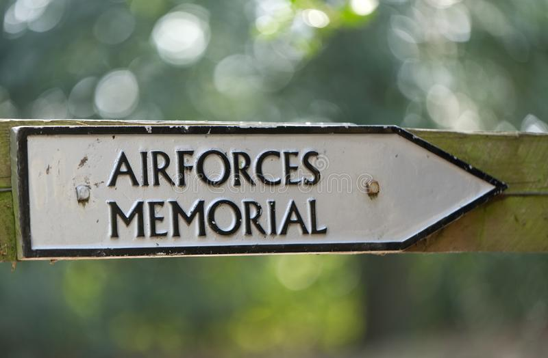 Sign, showing the way to Airforces memorial, Runnymede, Surrey. stock images