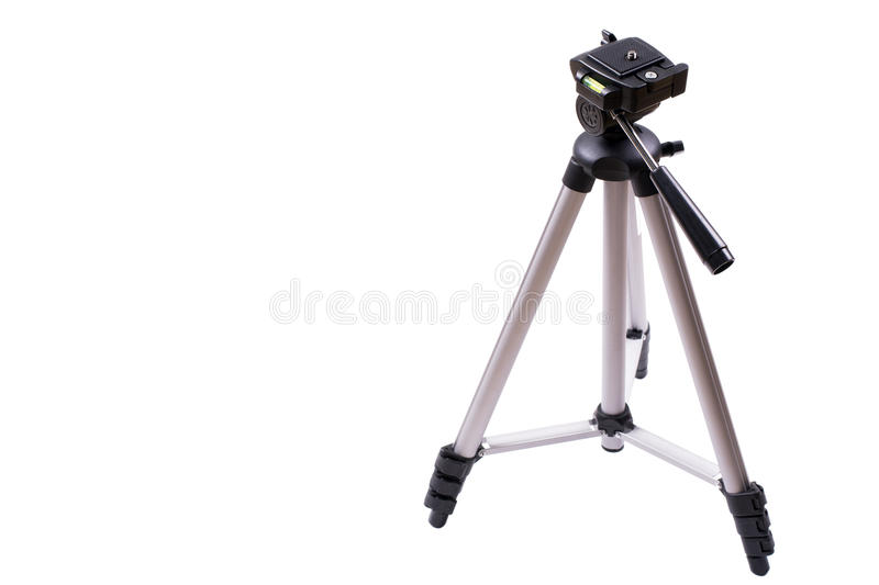 Small silver tripod. Standing small silver tripod isolated on white background stock photos