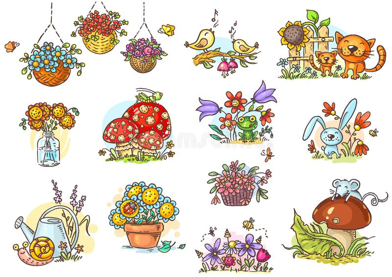 Small and simple cartoon illustrations with animals and flowers royalty free illustration