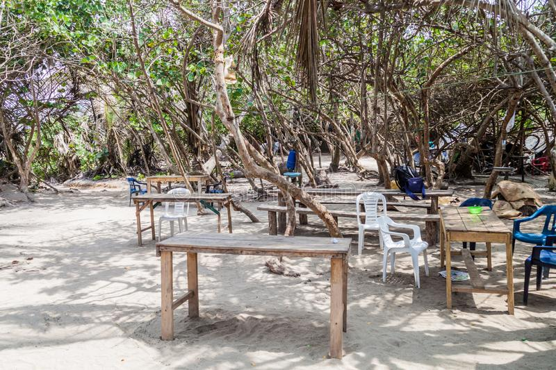 Small simple outdoor restaurant in Tayrona National Park, Colomb. Ia royalty free stock photography