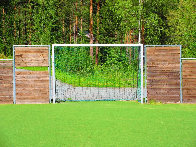Small soccer field at a school in Valdres, Norway royalty free stock photography