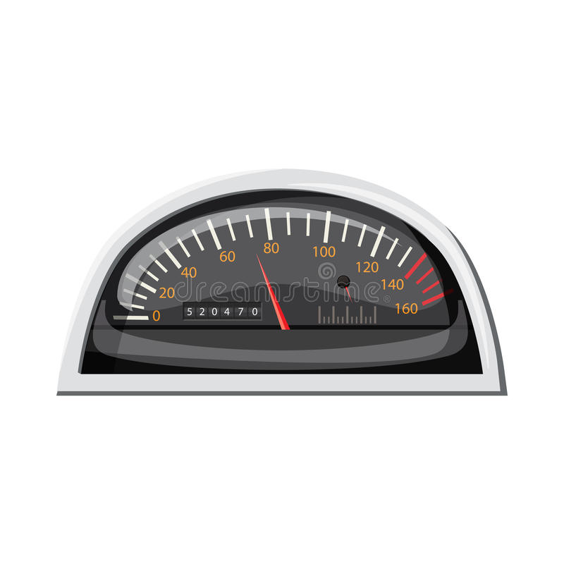 Small speedometer for car icon, cartoon style vector illustration