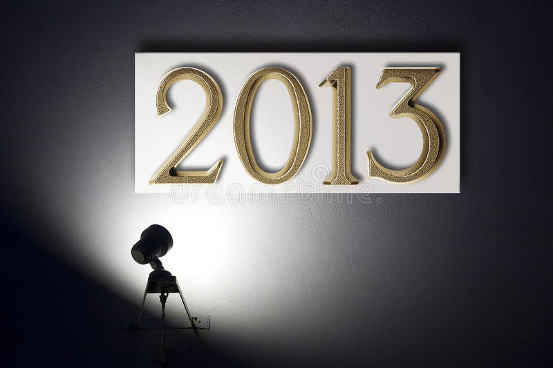 Small spotlight announcing the New Year royalty free stock image