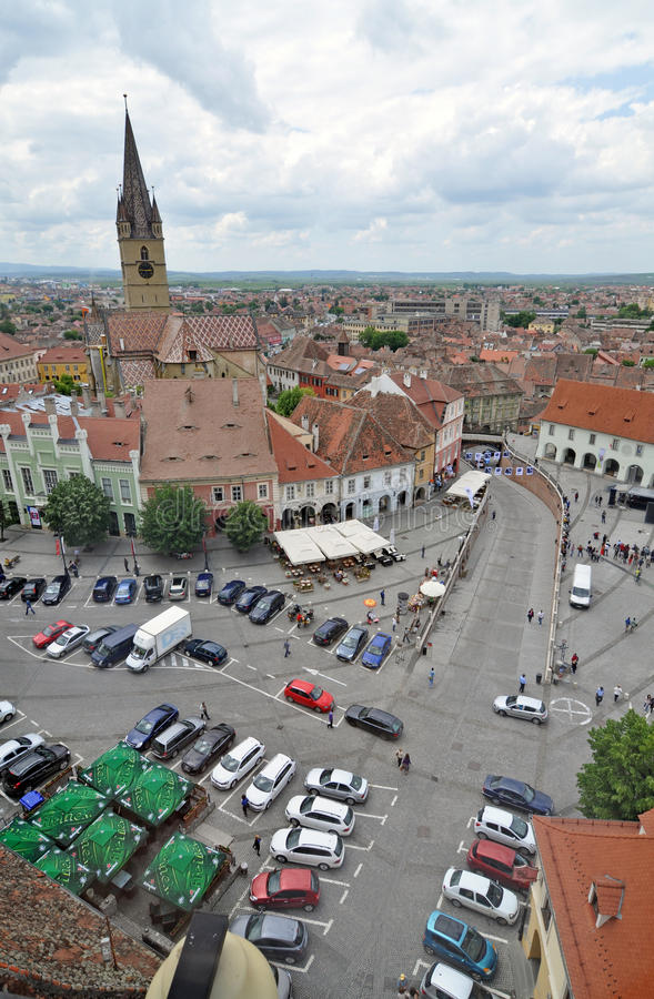 Small square. Sibiu city - big square - in middle Romania, Transylvania land is now host of International Festival of Theater May 25th - June 3rd 2012 stock photography