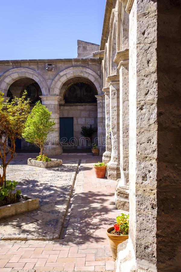 Small square at the Monastery of Santa Catalina de Siena royalty free stock photo