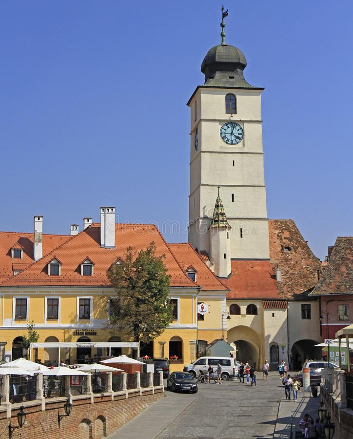 The small square in old town of Sibiu royalty free stock photo
