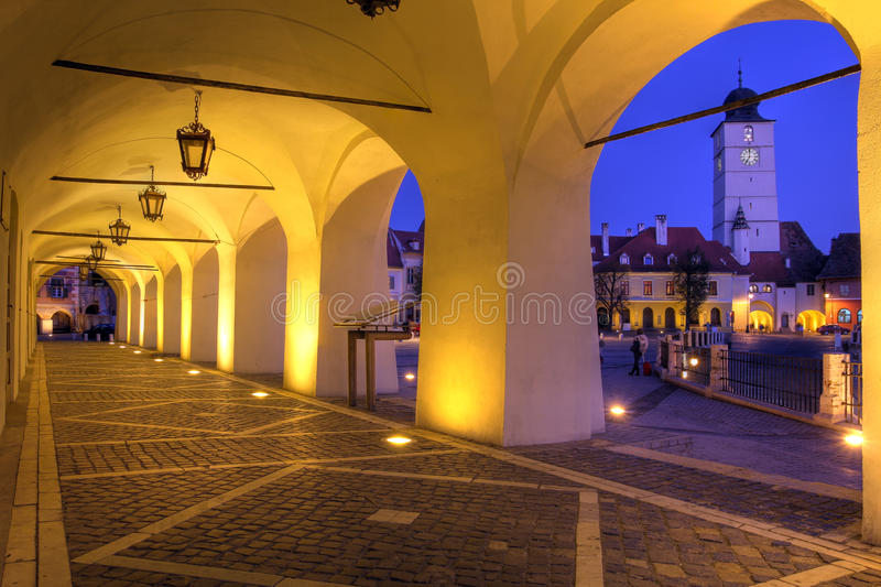 The Small Square (Piata Mica), Sibiu, Romania stock photos