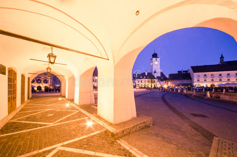 Small Square in Sibiu. stock photo
