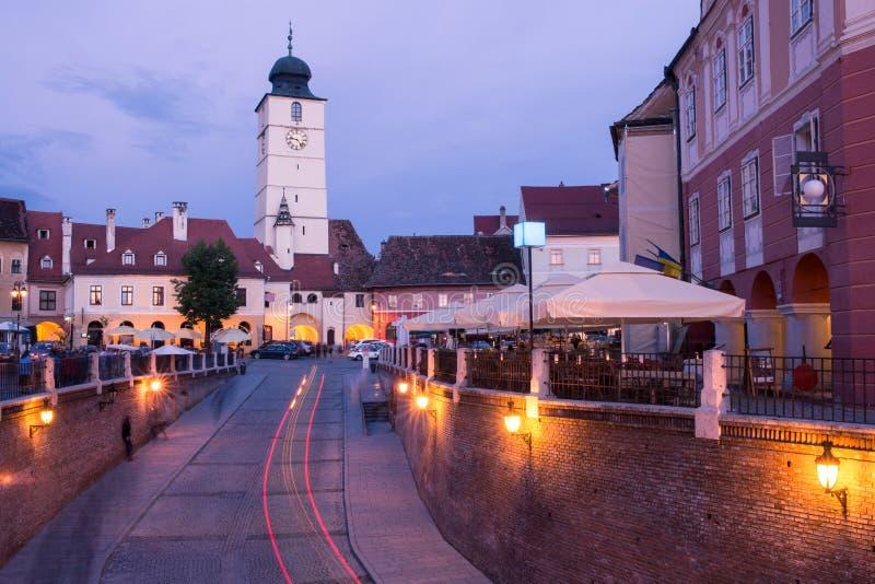 Small Square in Sibiu. stock photo