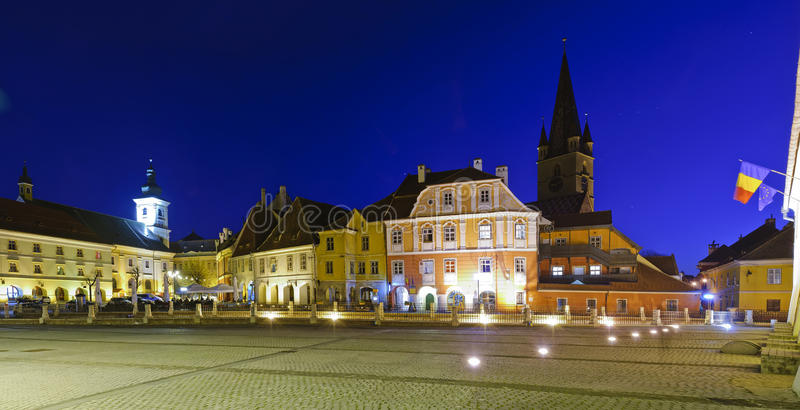 Small square in Sibiu, Romania royalty free stock photos