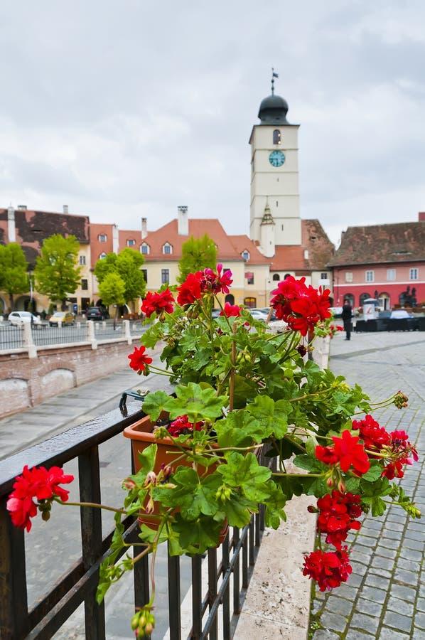 Small square in Sibiu, Romania stock image