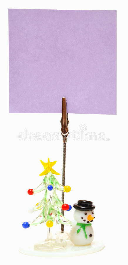 Small stand with blank business card. On white stock photography