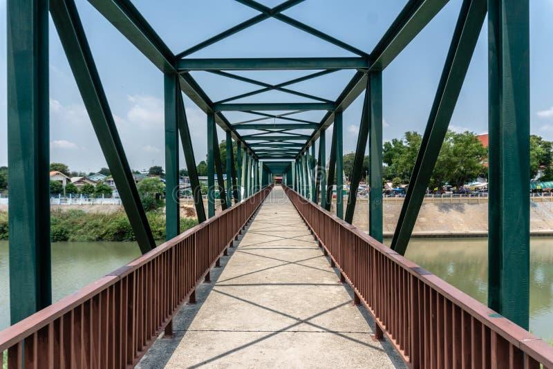 Small Steel Bridge for Walking across Pasak River royalty free stock image