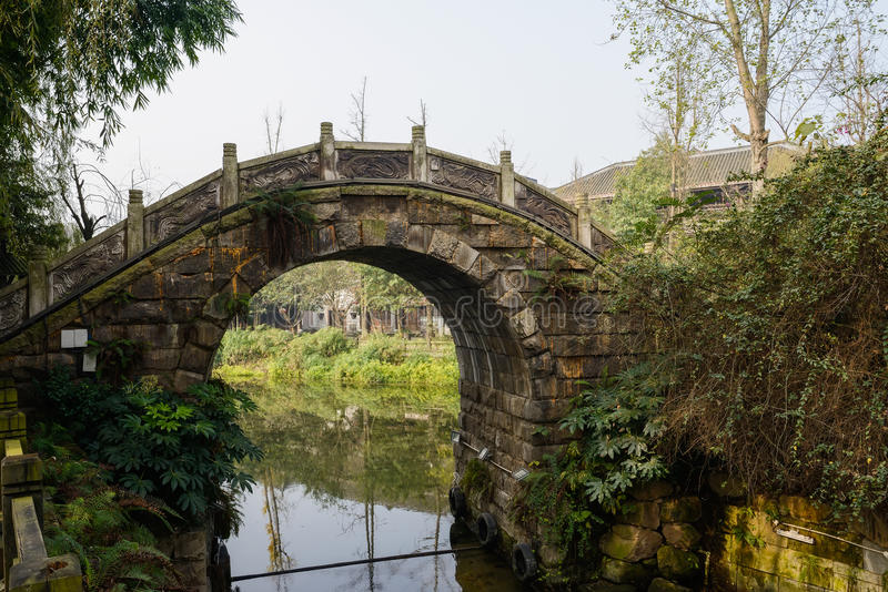 Small stone arch bridge over brook at sunny winter noon. Small stone arch bridge over the brook at sunny winter noon,Huanglongxi town,Chengdu,China royalty free stock image