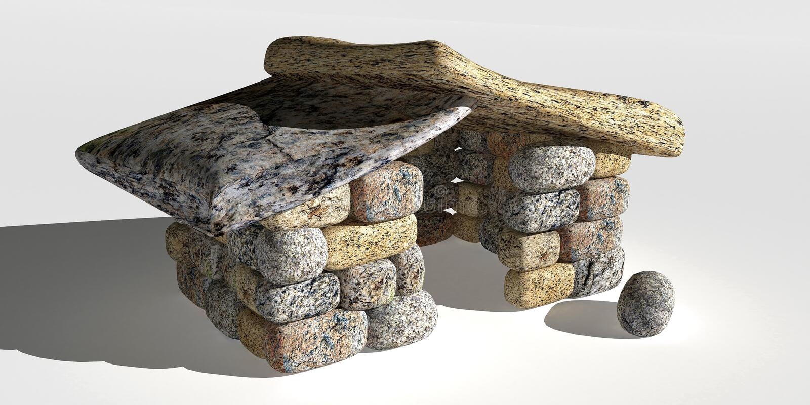 Small stone cottage. Small stone cottage from the Stone Age. 3D illustration vector illustration