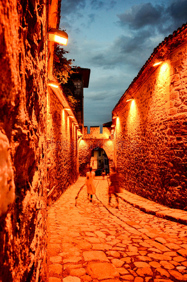 Small stone street in old roman city of Plovdiv stock photography