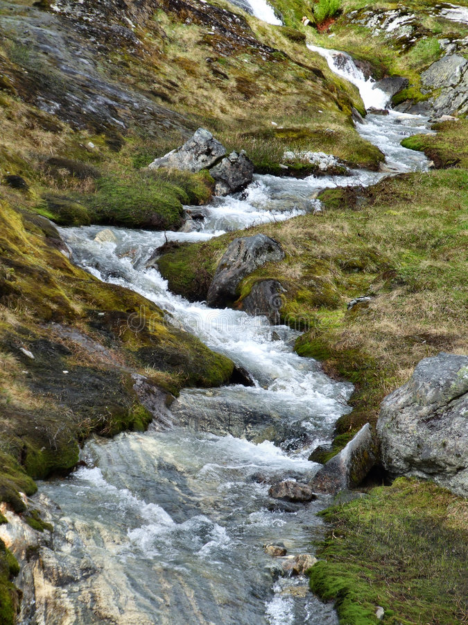 Small stream or brook in Norway royalty free stock image