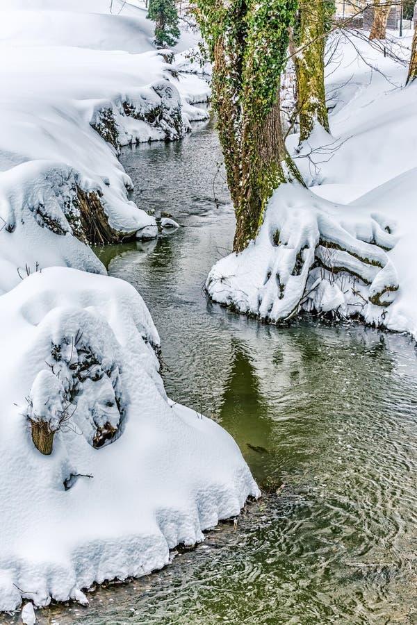 Small stream in snow. Near the castle Trakoscan in Croatia royalty free stock photos