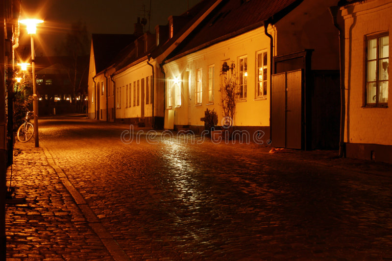 Small street. In Lund, a small city in Sweden royalty free stock image