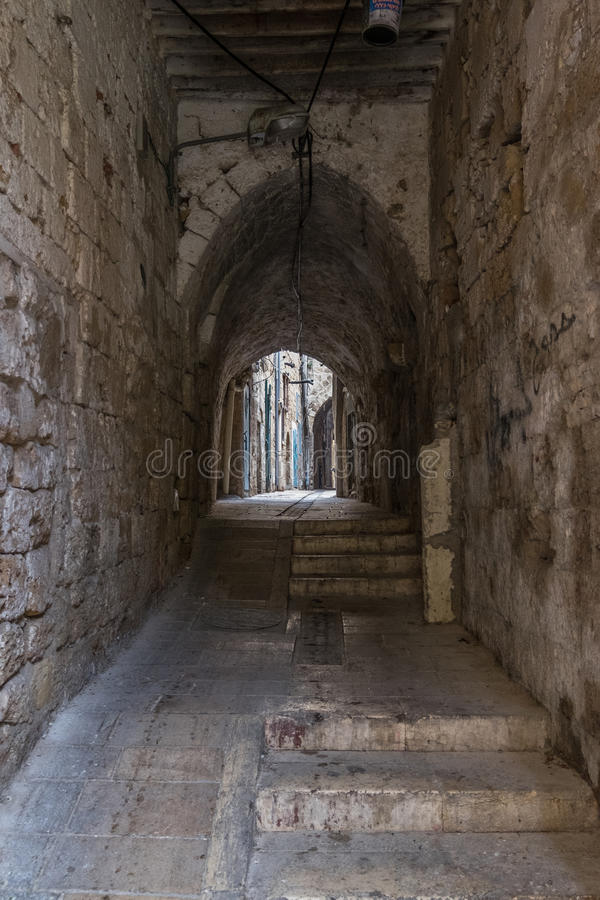 Small street in Akko, Acers royalty free stock photography