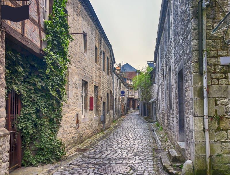 Small street in Belgium town Durbuy stock photo