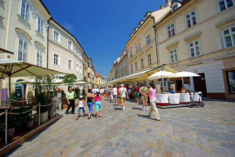 Small street in Bratislava stock image