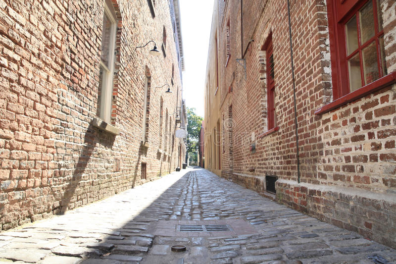 Small street. With brick walls stock photo