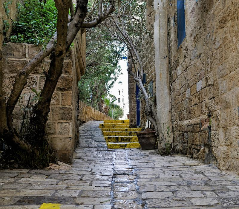 Small street. In the historic centre of the city of Yafo, Israel royalty free stock images