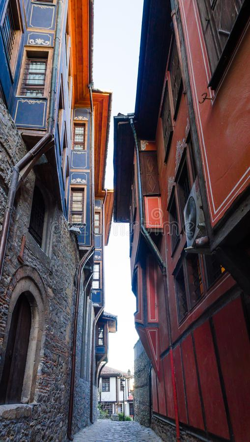 Small street with houses in the old town in Plovdiv - Bulgaria stock photos