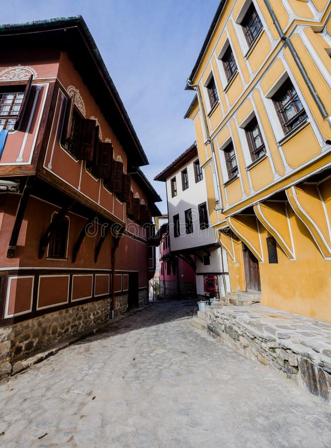 Small street with houses in the old town in Plovdiv - Bulgaria royalty free stock photography