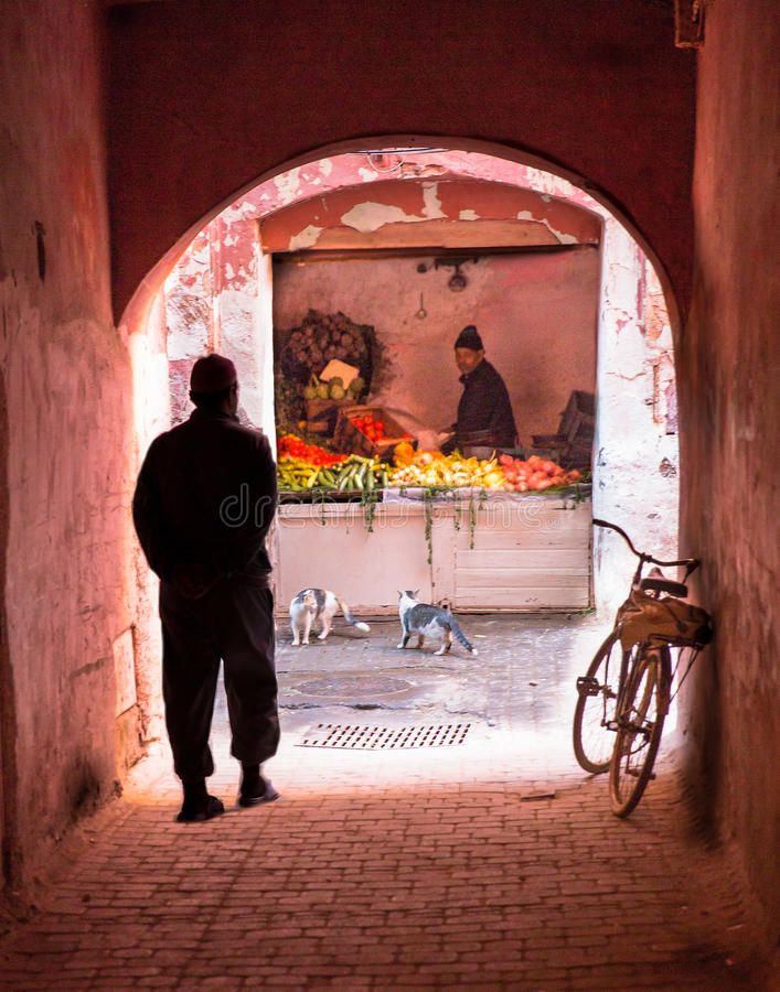 Small street in Marrakech medina. royalty free stock images