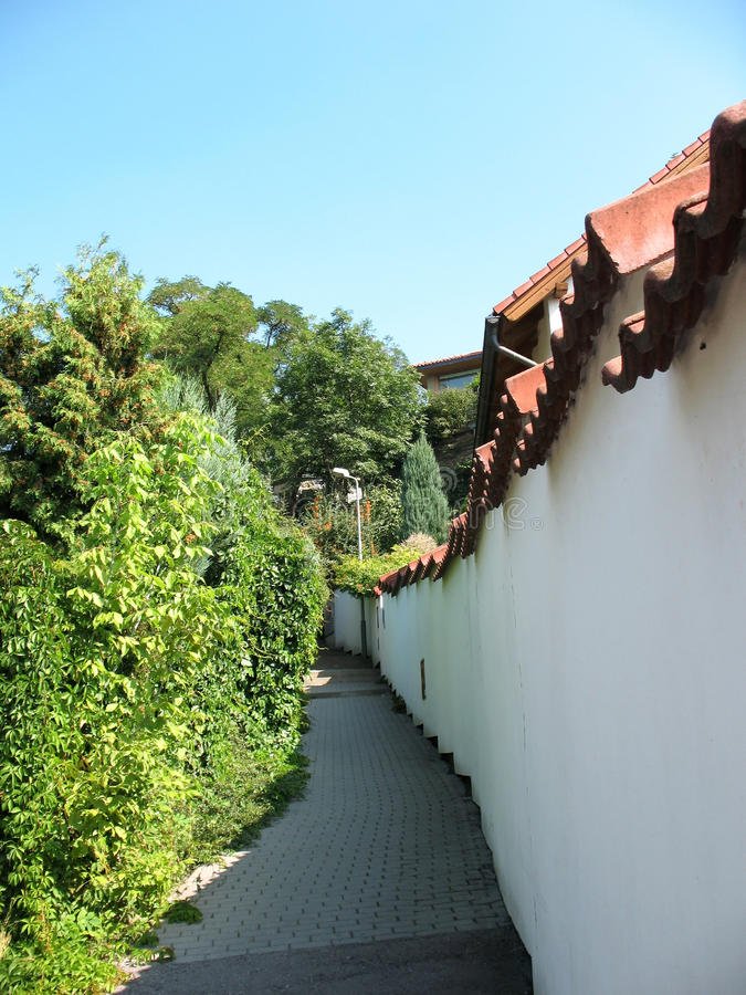 Download A small street in Prague stock image. Image of green - 23406689