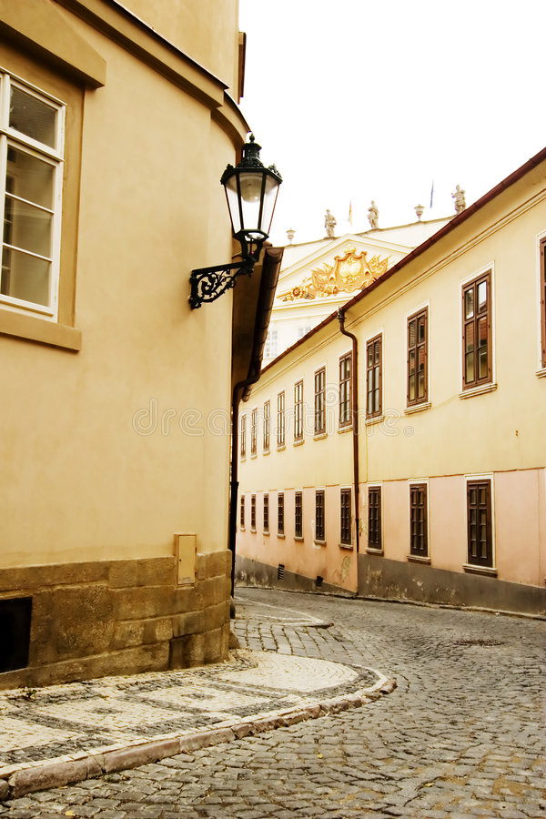 Small Street - Prague. A small skinny street detail in the old town area of Prague, Czech Republic stock photos