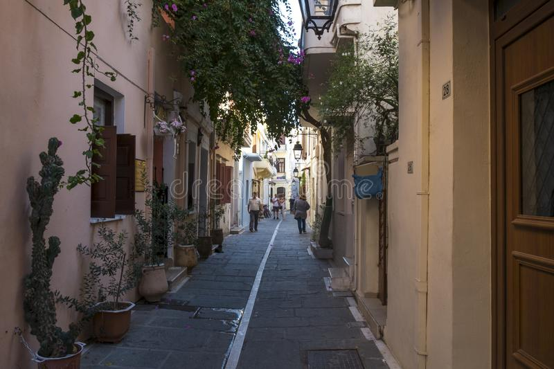 Small street in Rethymno city, Crete, Greece stock images