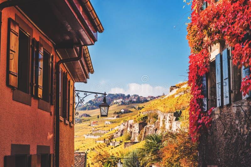 Small streets of swiss medieval village Saint-Saphorin. Lavaux vineyards stock photos