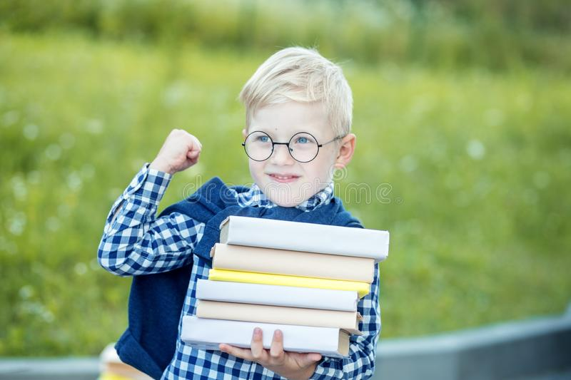 Small strong boy holds many books in hands. The concept of learning, school, mind, lifestyle and success royalty free stock photography
