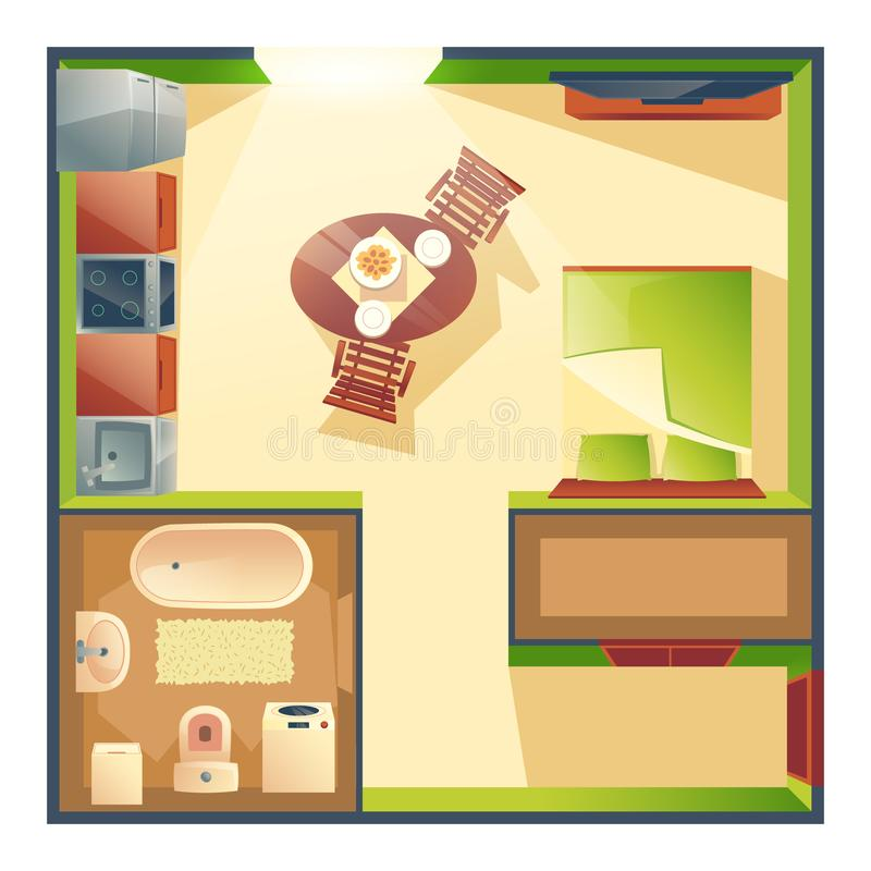 Small studio apartment cartoon vector plan. Small studio apartment with combined kitchen, living room and bedroom cartoon vector top view plan with dinning table royalty free illustration