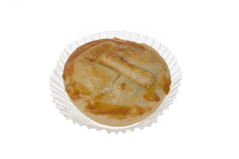 Stuffed chicken pie known as Empada in Portugal and Brazil. Isolated on white background. royalty free stock image