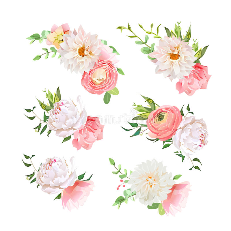 Small summer bouquets of rose, peony, ranunculus, dahlia, carnation, green plants. Vector design elements royalty free illustration