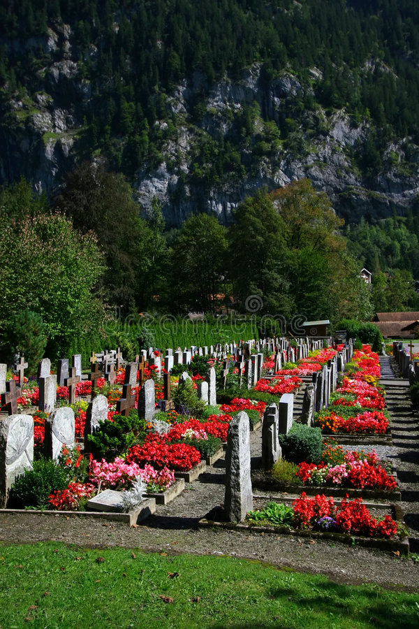 Download Small Swiss Cemetery stock image. Image of flower, memorial - 1518907